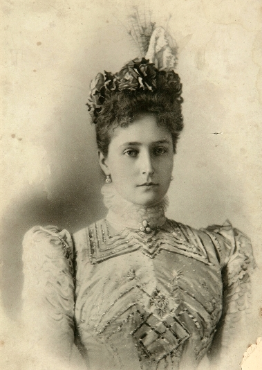 XBH366610 Portrait of Empress Alexandra Fyodorovna (b/w photo) by Russian Photographer; Private Collection; (add.info.: Alexandra (1872-1918) Empress consort of Russia as the wife of Tsar Nicholas II;); Russian,  it is possible that some works by this artist may be protected by third party rights in some territories
