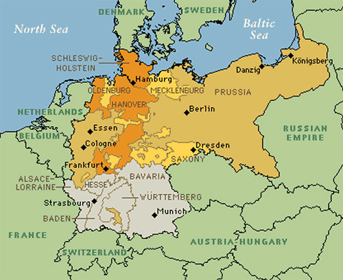 Map Of Germany Throughout History.Economic And Political Trends In Germany Toward Unification German