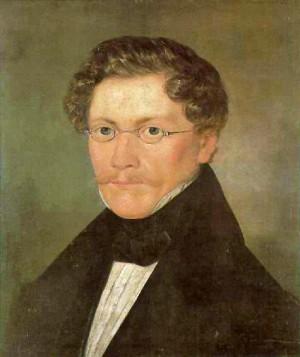 Selbstportrait Carl Spitzwegs um 1840 Originalgröße 45,0 x 42,0 cm