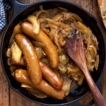 Beer Bratwurst Braised with Onions and Apples