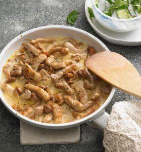 Geschnetzeltes – Pork in Creamy Mushroom Sauce